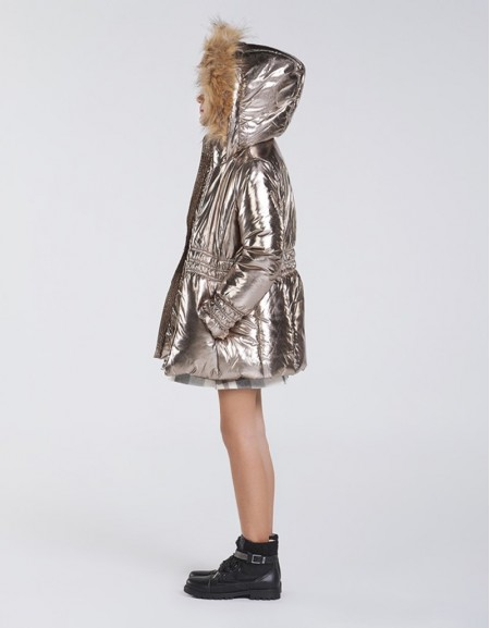 Old Gold Long Metallic Coat