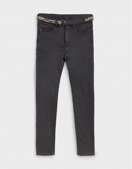 Black Straight Fit Trousers With Belt