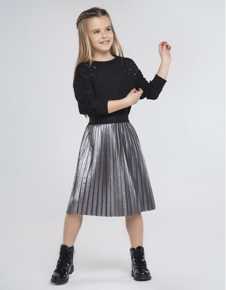 Black Pleated Suede Skirt