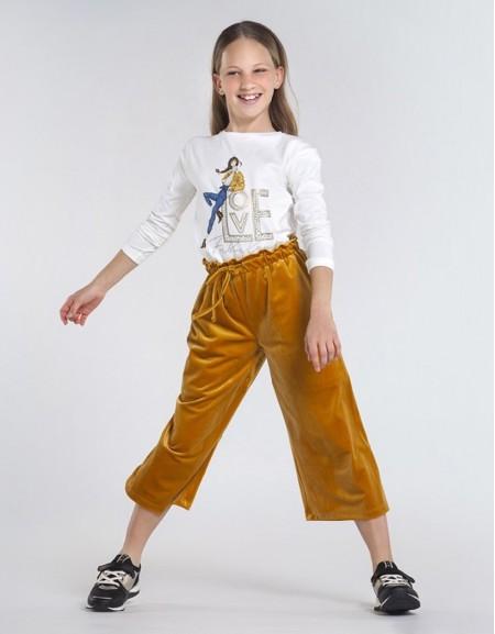 Mustard Velvet Culotte Trousers