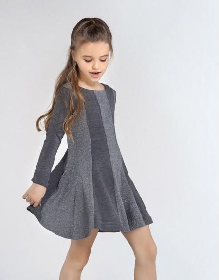 Gray Metallic Knit Dress Metallic