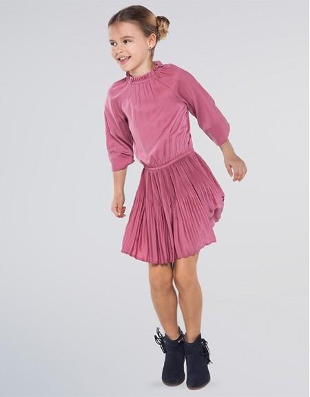 Grape Pleated Satin Dress
