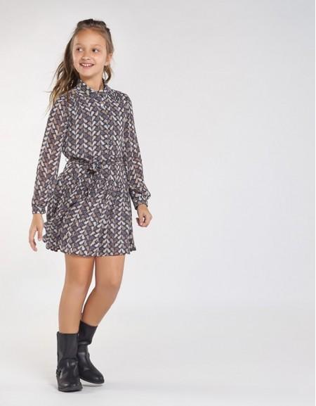 Lead Patterned Chiffon Dress