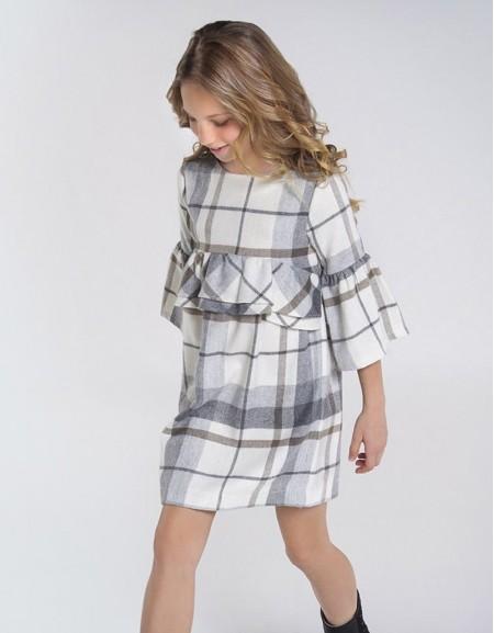 Gray Checked Ruffle Dress