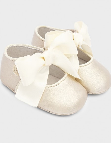 Golden Mary Jane Bow Shoes