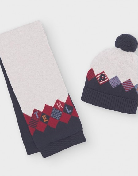 Bordeaux Tri Tone Hat And Scarf Set