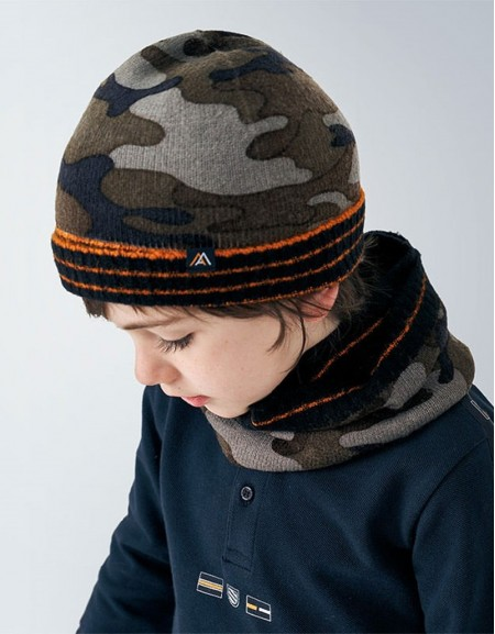 Navy Camouflage Hat And Scarf Set