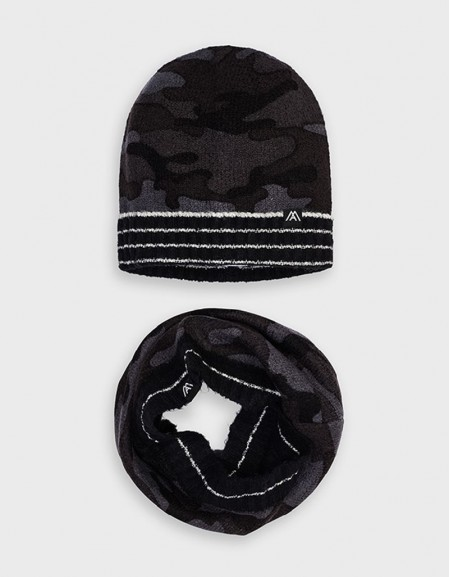 Coal Camouflage Hat And Scarf Set