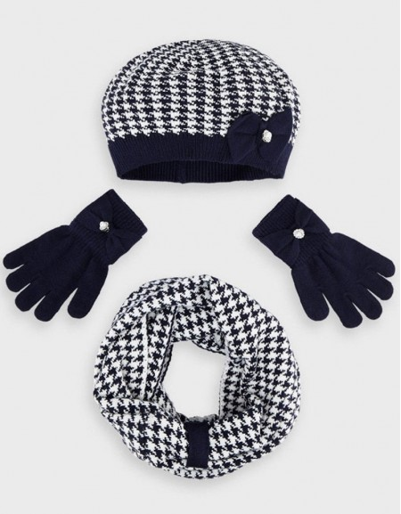 Navy Houndstooth Hat And Scarf Set