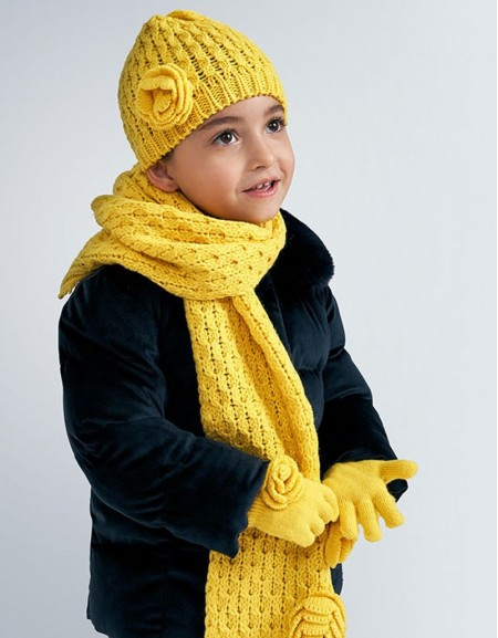 Yellow Floral Hat And Scarf Set