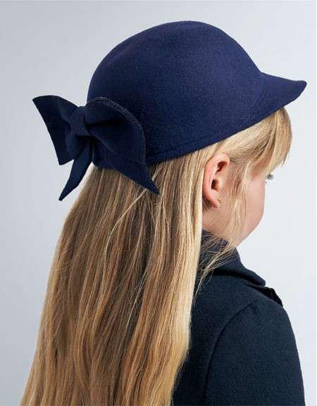 Navy Cap With Bow