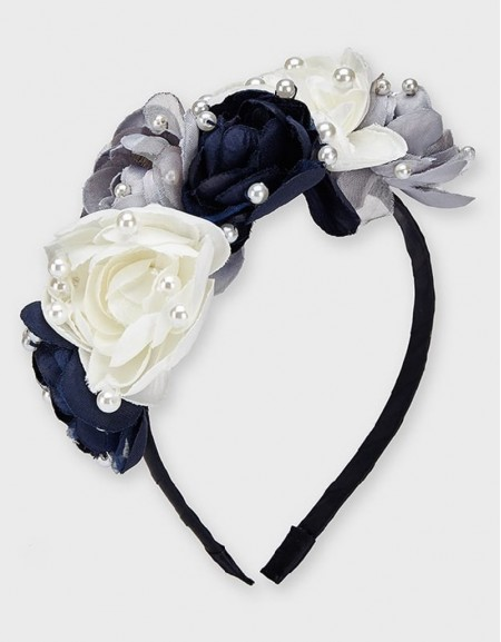 Navy Flowers And Pearls Hairband