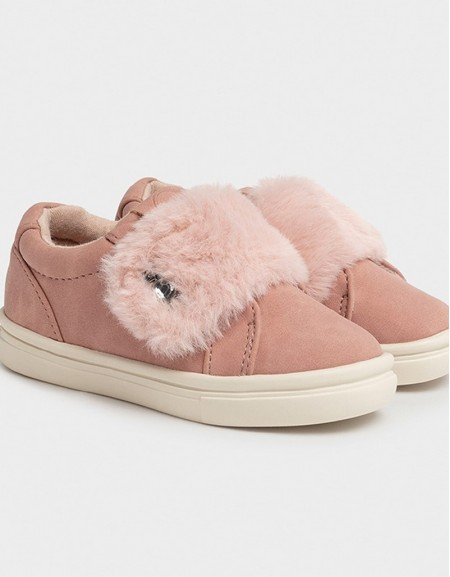 Rose Velcro Trainers With Faux Fur