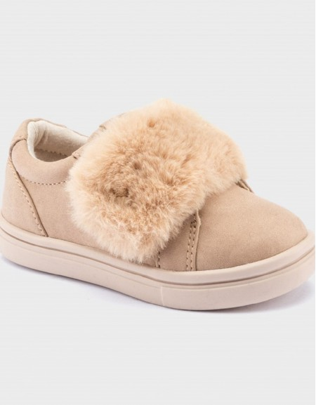 Taupe Velcro Trainers With Faux Fur