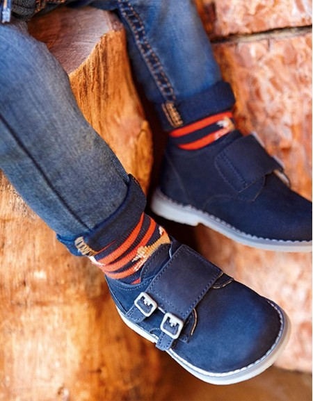 Navy Smart Shoes With Velcro Fastening