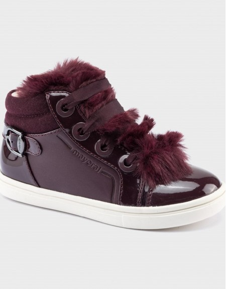 Maroon Sporty Faux Fur Trainers