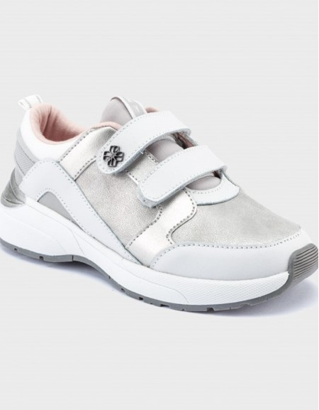 White-Silv Contrast Trainers