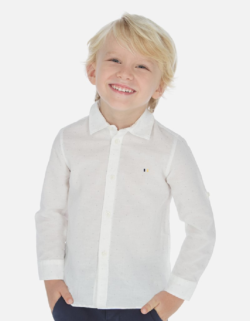Printed Basic linen l/s shirt