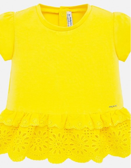 Yellow S/s perforated shirt