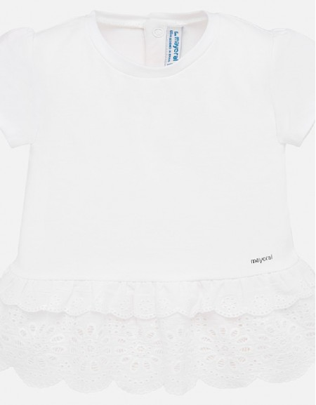 White S/s perforated shirt