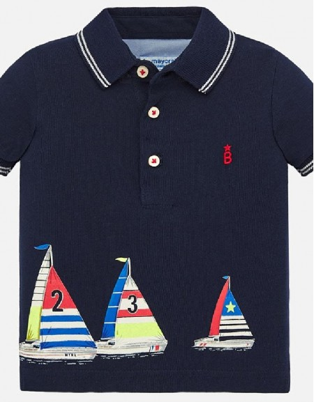 Navy Polo s/s positioned