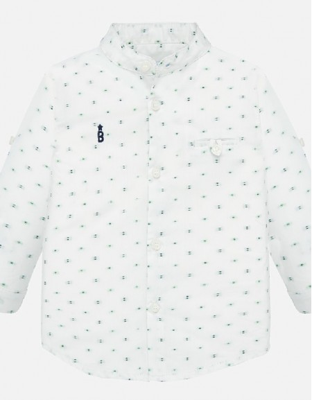 White L/s mao collar shirt