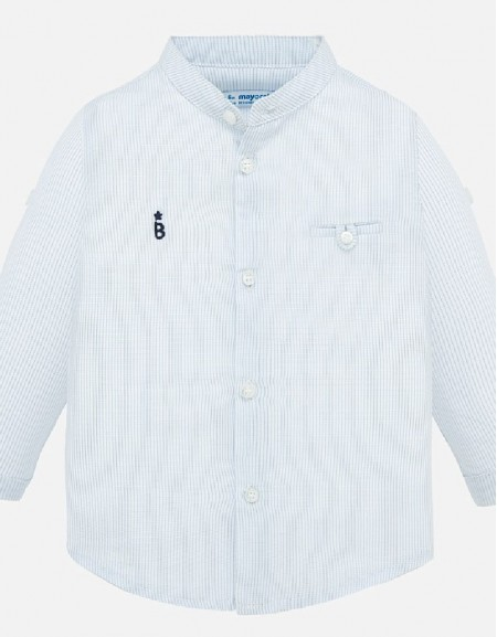 Lightblue L/s mao collar shirt