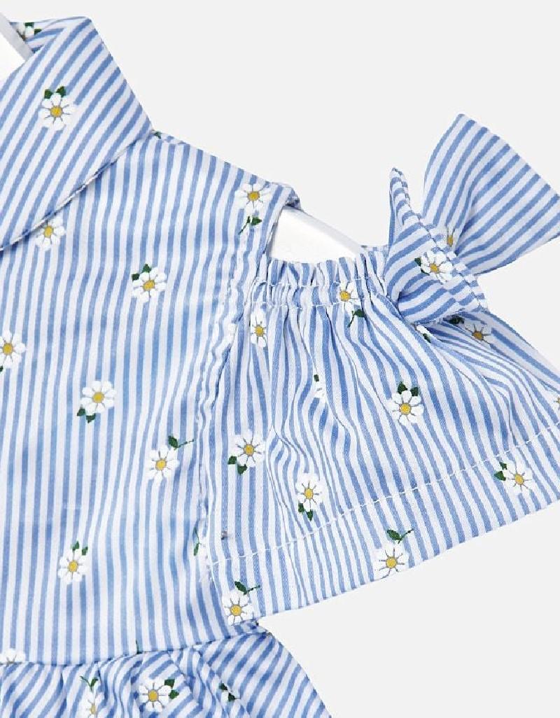 Indigo Glossy voile loose shirt