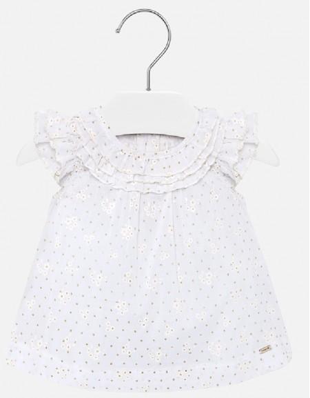 White Voile ruffled blouse