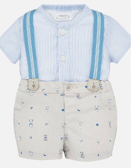 Stone Shorts with suspenders set