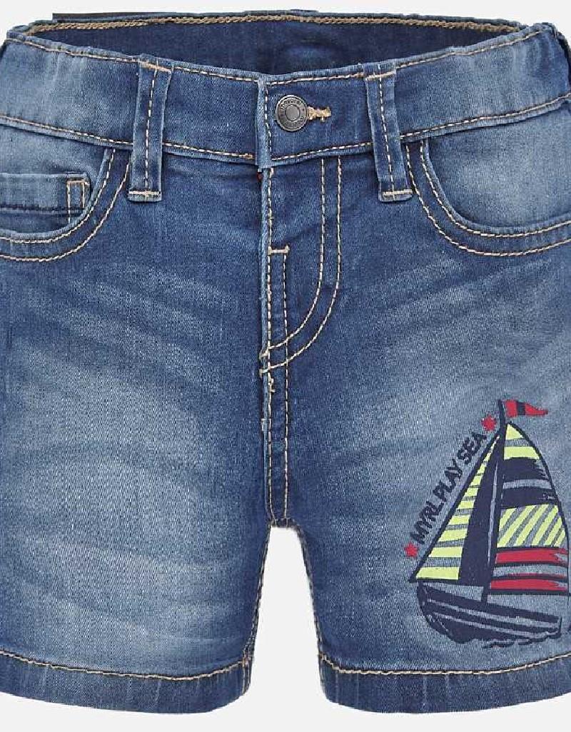 Denim Printed denim bermuda shorts