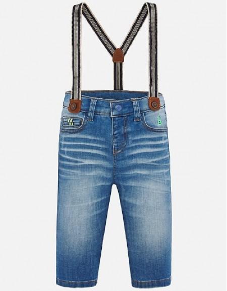 Bleached Denim pants with suspenders