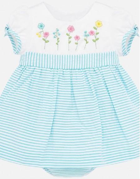 Turquoise Seersucker stripes dress