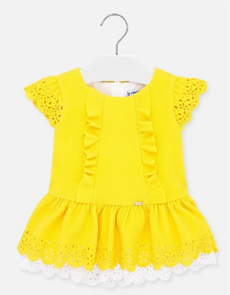 Yellow Pique knit dress
