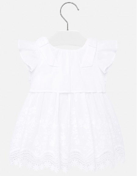 White Embroidered poplin dress