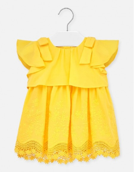 Yellow Embroidered poplin dress