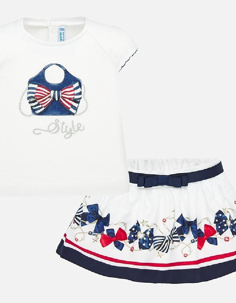 Navy Skirt and shirt set