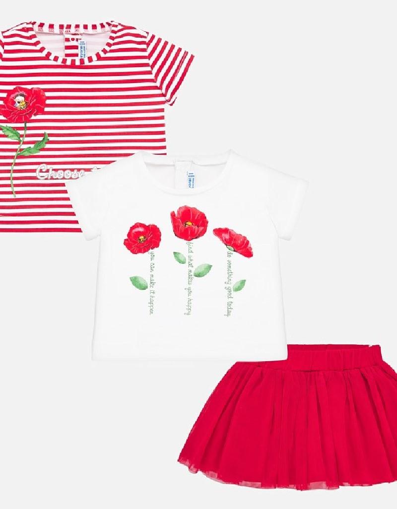 Red 3 piece skirt set