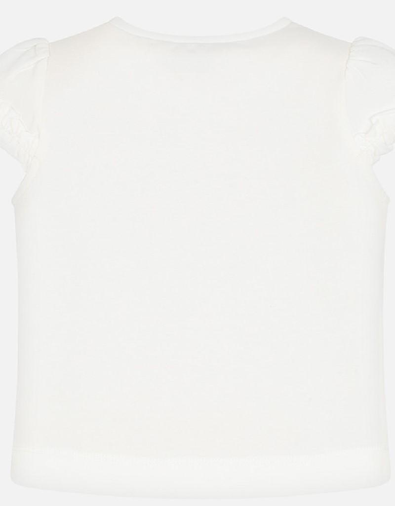 Natur-Navy S/s ruffled sleeves shirt