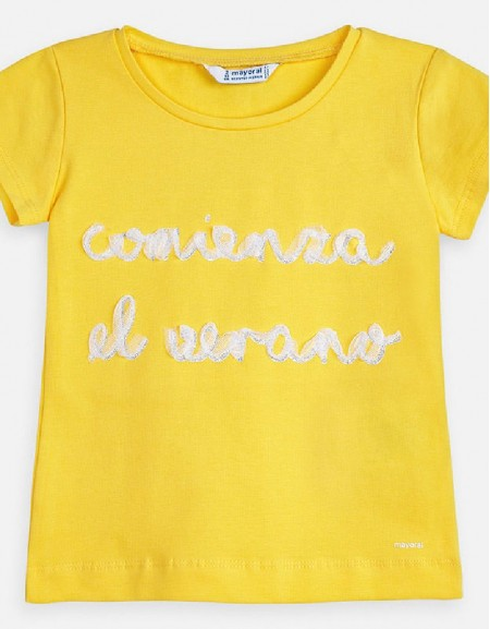 Yellow S/s shirt with tulle