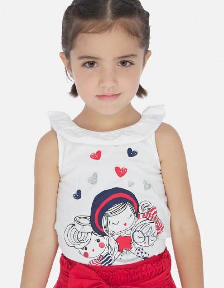 White Sleveless dolls shirt