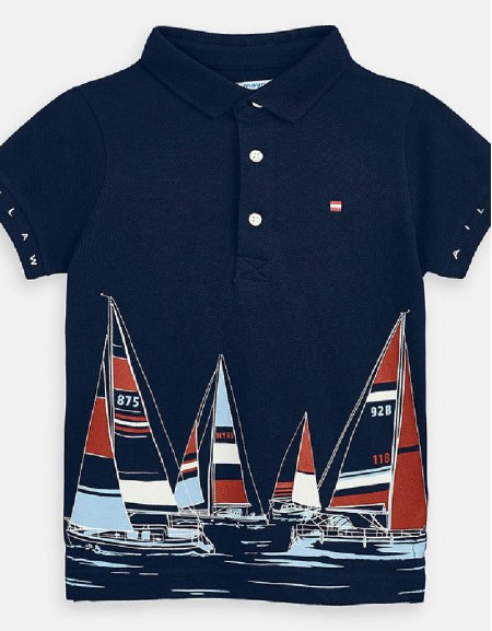 Navy Polo s/s print positioned