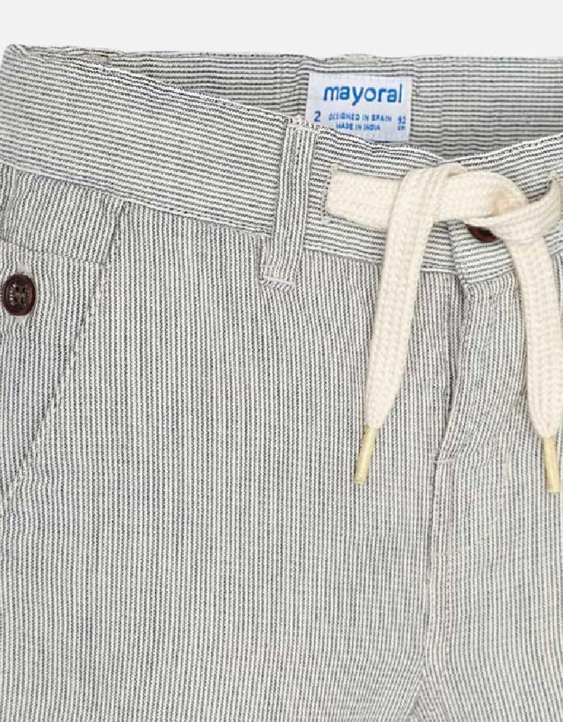 Cream Striped bermuda shorts