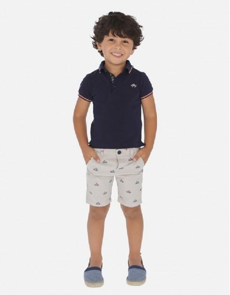 Navy Printed shorts set