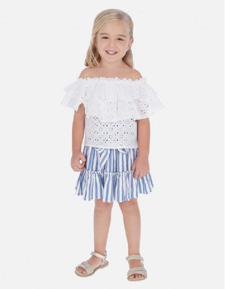 Blue Elastic waist skirt