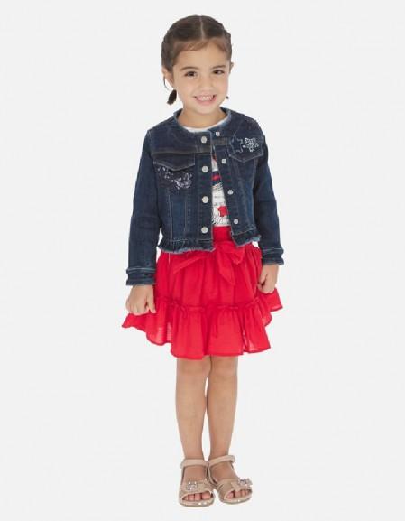Red Elastic waist skirt