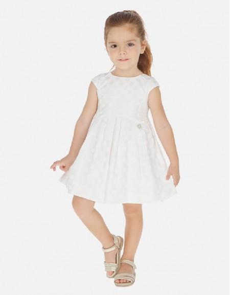 White Jacquard dots dress