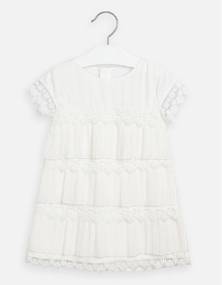 Natural Pleated guipur dress