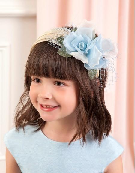 Lightblue Organza flowers headdress