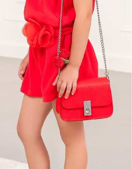 Red Flower leatherette bag